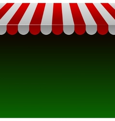 Red and White Strip Shop Awning with Space for vector image