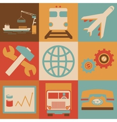 Retro transportation icons flat style for web and vector