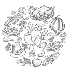 Round template with Thanksgiving icons vector image vector image