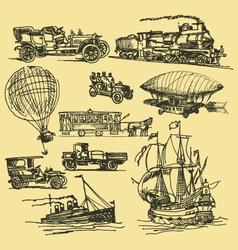 vintage hand drawn transportation vector image vector image