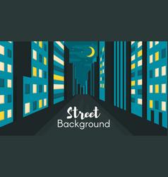 Flat style of night city street vector image