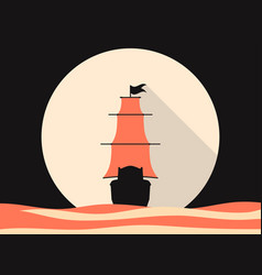 sailing ship in the sea flat style medieval vector image vector image