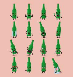 beer bottle character emoji set vector image