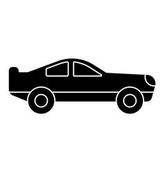 car racing retro icon black vector image