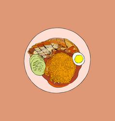 crispy pork belly rice top view hand draw sketch vector image vector image