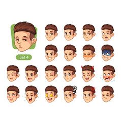 fourth set of male facial emotions vector image