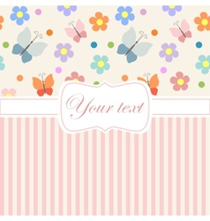 Pink card invitation with flowers and stripes vector image