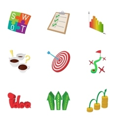 Success statistics icons set cartoon style vector image