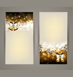 christmas greeting-card with bells vector image vector image