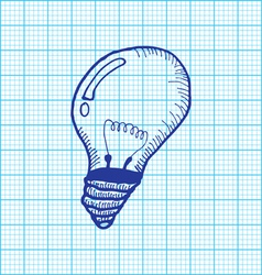 drawing of light bulb on graph paper vector image