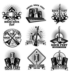 retro rock n roll band labels grunge rocks party vector image vector image