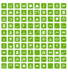 100 adult games icons set grunge green vector image