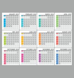 2018 creative calendar grid vector image