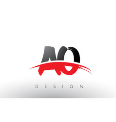 Ao a o brush logo letters with red and black vector