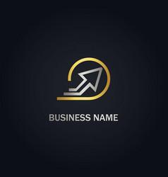 arrow up line round gold logo vector image