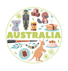 Australia cartoon round background vector