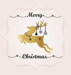 Back and golden merry christmas banner and deer vector