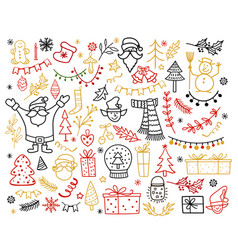 big set christmas design element in doodle vector image