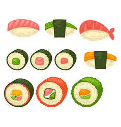 big sushi and maci rolls isolated vector image
