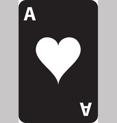 black playing card with heart symbol icon isolated vector image