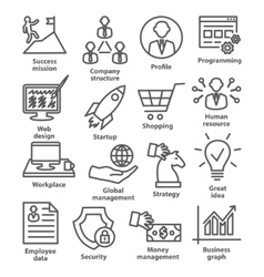 Business management icons in line style Pack 29 vector image