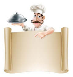 Cartoon cook menu scroll vector