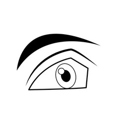 cartoon male eye angry expression icon vector image
