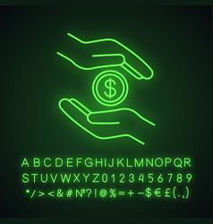 Charity neon light icon vector
