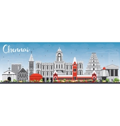 Chennai Skyline with Gray Landmarks vector