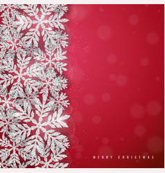 christmas silver glittering snowflakes background vector image