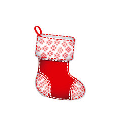 christmas socks with ornaments and snowflakes vector image