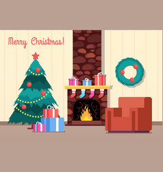 christmas tree and fireplace living room vector image