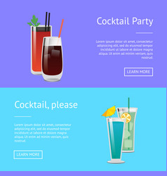 cocktail party posters set bloody mary whiskey web vector image