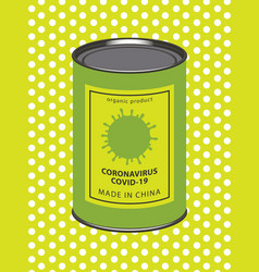 comic banner with canned coronavirus covid-19 vector image