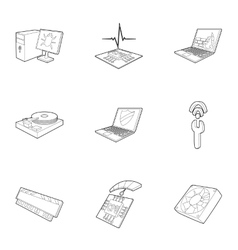 Computer setup icons set outline style vector