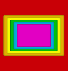 concentric square lgbt rainbow flag gay colors vector image