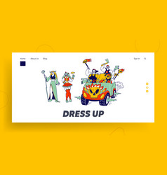 Cosplay characters landing page template culture vector