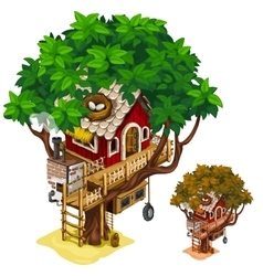 Cosy house built on large tree isolated vector