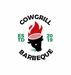 cow head fire grill logo icon vector image