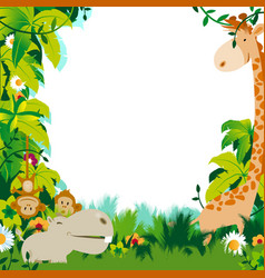 Cute jungle animals frame vector