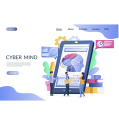 Cyber mind website landing page design vector