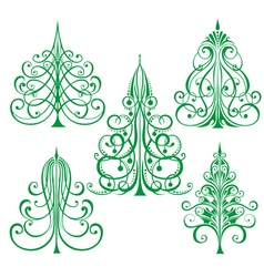 decorated Christmas trees vector image