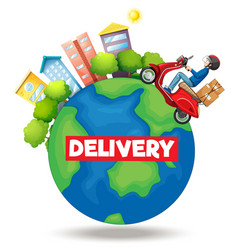 delivery logo with bike man or courier riding vector image