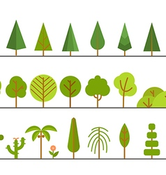 Different trees collection Lineart design set vector