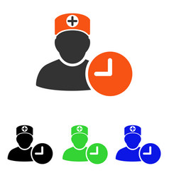 Doctor schedule clock flat icon vector