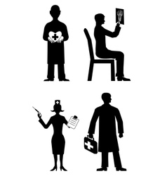 doctor silhouette set vector image