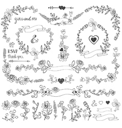 Doodles floral decor setBorderscornerelements vector image