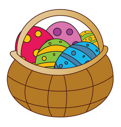 easter basket with egg symbol icon design spring vector image