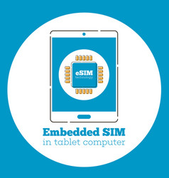 esim card chip sign on tablet screen vector image