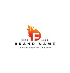F letter logo fire design vector